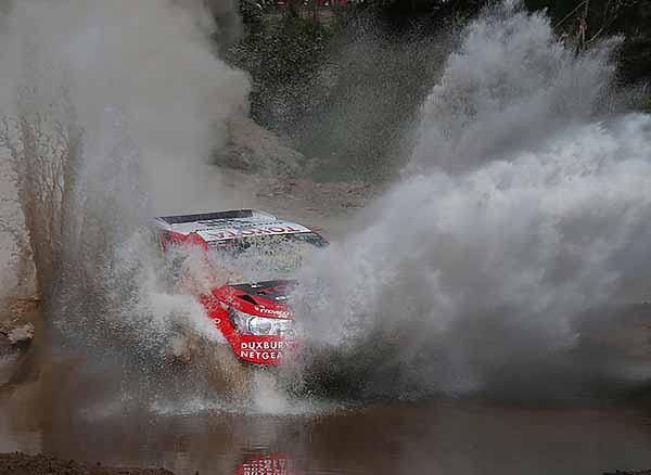 QUICK CHILL FOR A TOYOTA: This water crossing on the Dakar prologue caused pain for some competitors but a Toyota SA-built Hilux blasted happily through. Image: Dakar photographers