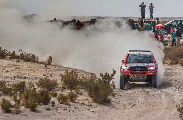 ROAD TO SUCCESS: The Toyota SA Gazoo team's leader bakkie is fifth in the 2016 Dakar after a struggle through the dunes. Image: Toyota SA