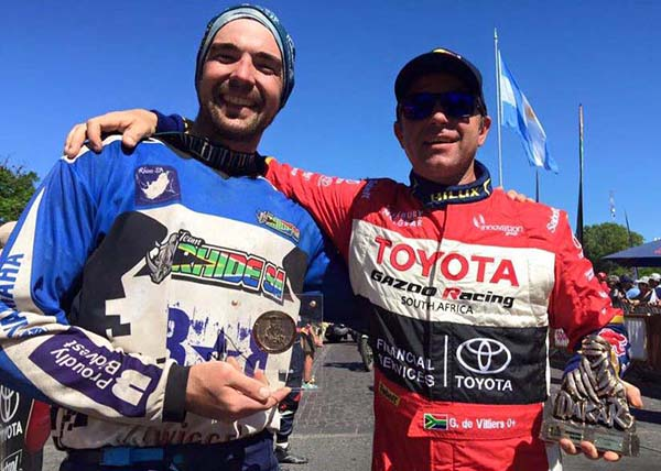 INTERNATIONAL HEROS: Brian Baragwanath (left) and Giniel de Villiers who made the race podium in, respectively, the quad and all-wheel drive classes of the 2016 Dakar Rally. Image: Rhide SA / Facebook