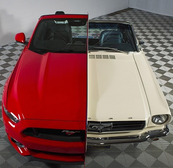 1965 and 2015 Mustangs melded Image: Ford / Newspress