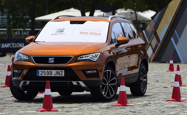 Driving blind in Spain - cameras-only test for Seat in Barcelona, Spain. Image: Seat