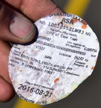 FORGERY! One of the vehicle licence discs removed from trucks in the Western Cape. Image: FleetWatch