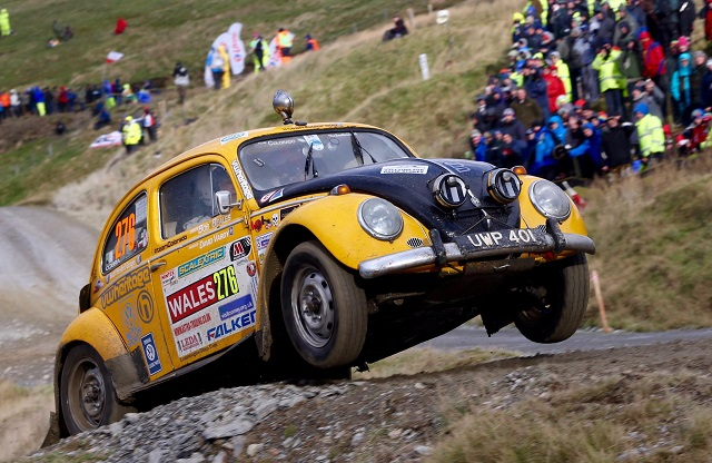 BERTIE BEETLE: The aged Beetle racing in the 2015 World Rally championship in Wales in 2015. Image: Newspress