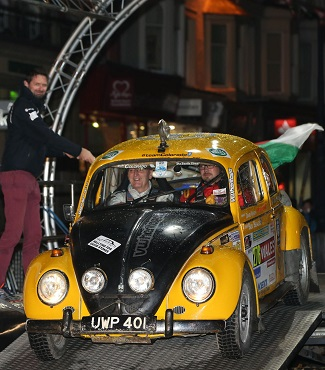 RAMPING OFF: Bertie Beetle at the start of the 2015 Wales Rally. Image: Newspress