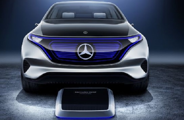 FUTURE ON WHEELS: The Mercedes EQ battery car and the induction plate that will 'refuel' it in the owner's garage. Image: Mecedes