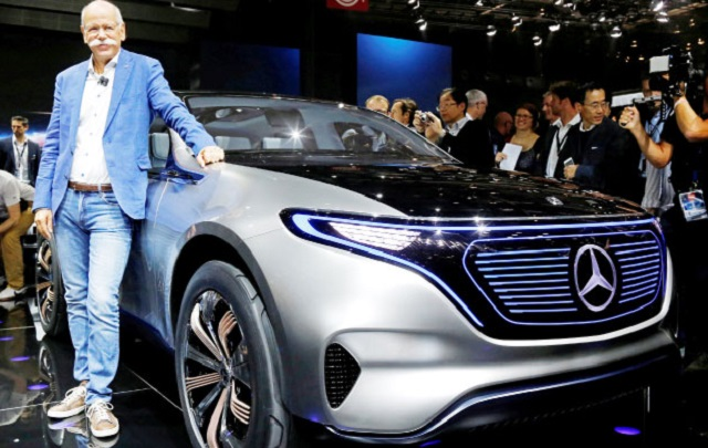 BOSS AT THE SHOW: A very casual Dieter Zetsche, CEO of Daimler and head of Mercedes-Benz Cars, with the EQ in Paris. Image: Mercedes