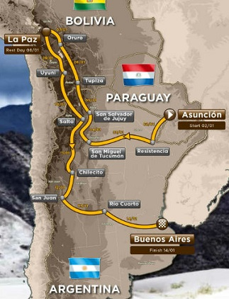 LONG WAY TO GO: The route of the 2018 Dakar Rally through South America.
