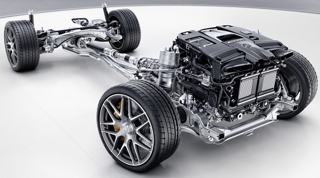 SOME KINDA POWER PACK: The four‑litre twin-turbo V8 generates up to 450kW, making it the most powerful Mercedes-AMG has yet installed in an E-Class. Image: Mercedes-AMG