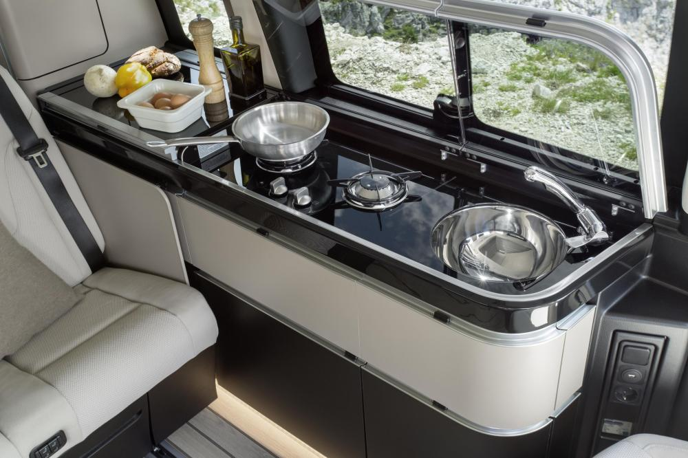 EVERYTHING AND THE KITCHEN SINK: It's all built-in right from the 'basic' Marco Polo camper van. Image: Mercedes-Benz