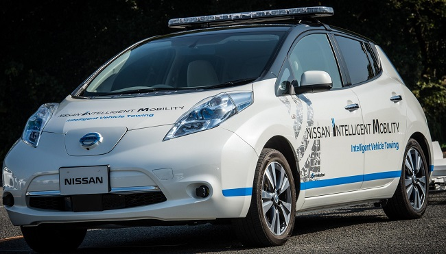 WORLD'S MOST HIGH-TECH TOW-CAR? One of the Nissan Leaf autonomous electric cars in action. Image:Nissan Japan