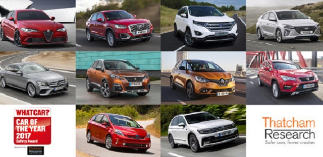 BEING POSITIVE ABOUT SAFEST CARS: These are the Top 10 finalists for the UK's 'Safest Car of the Year' award in conjunction with Thatcham Research and What Car? Image: Thatcham Research / Newspress