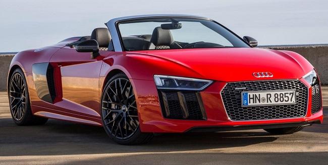 AUDI US REVEALS NEXT SPYDER: More powerful V10 engine, freshened design, lighter cloth roof. Image: Audi America / Newspress USA