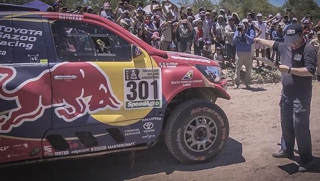 HOT START: Toyota SA's Nasser All-Attiyah under starter's orders for Day 2 of the 2017 Dakar Rally. Image: Toyota SA / Quickpic