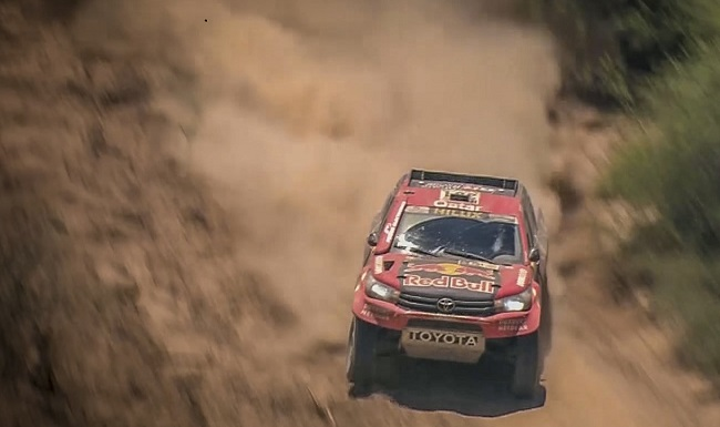 TOUCH SIDEWAYS: Toyota SA's Nasser All-Attiyah doing it in the dust on Day 2 of the 2017 Dakar. Image: Toyota SA / Quickpic