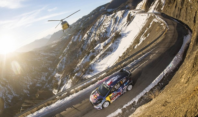 GETTING A HIGH IN THE ALPS: Frenchman Sebastien Ogier had a dream finish - he won - from the 2017 Monte Carlo, the first event of the season's World Rally champiionship. Image: Jaanus Ree/Red Bull