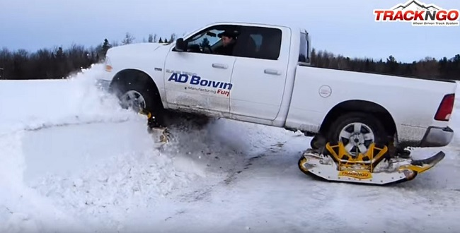SNOWSTORMS CONQUERED: This all-wheel drive bakkie had a Track 'n Go unit on each wheel and simply turned of the icy road into deep fresh snow. Image: Track 'n Go/YouTube