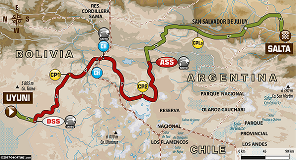 DAKAR 2017: Route for Stage 8 from Uyuni in Bolivia to Salta in Argentina. Image: Dakar