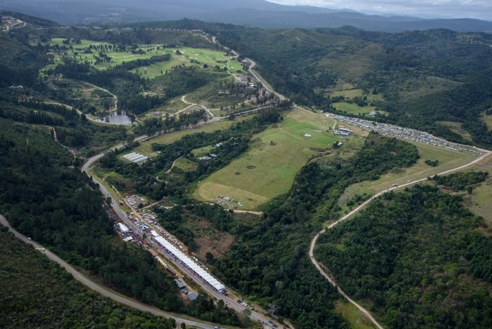 GET THIS VIEW FROM THE HELICOPTER FLIPS: The full layout of the course, with the track finish at the top of the photograph.Image: Jaguar