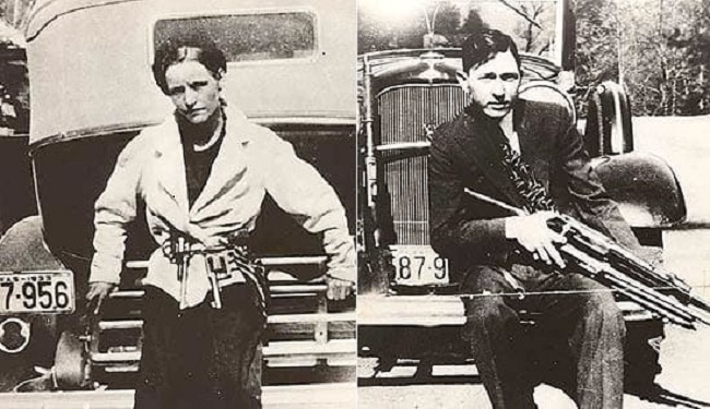 THE REAL PEOPLE: Bonnie and Clyde Barrow and one of them crime-spree cars.  Image: Wikipedia