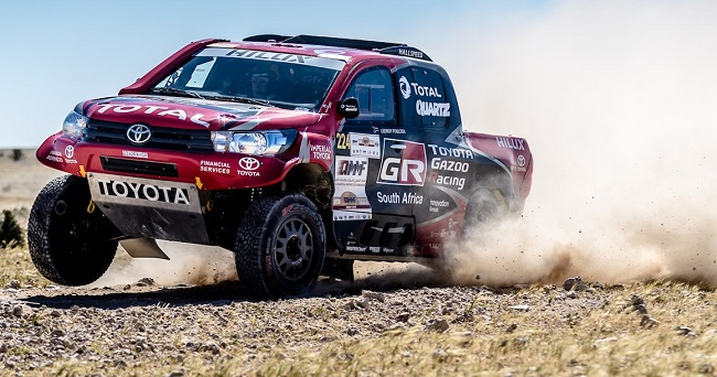 PENULTIMATE STAGE: Toyota's Leeroy Poulter and Dirk von Zitzewitz at speed on the 2017 Doha Rally. Image: Toyota SA