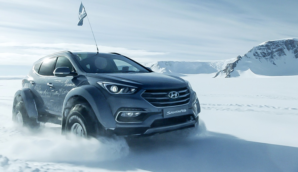 SANTA FE CONQUERS ANTARCTIC: The grandson of early 20th century explorer Sir Ernest Shackleton has followed his famous forebear's tracks across the frozen continent - in a fat-tyred Hyundai Santa Fe SUV. Image: Hyundai