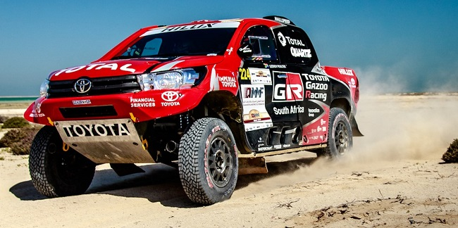 PROUDLY TOYOTA: Two South African-built Toyota Hilux bakkies finished the 2017 Doha desert rally on the podium - this one driven by SA's Leeroy Poulter Image: Toyota SA