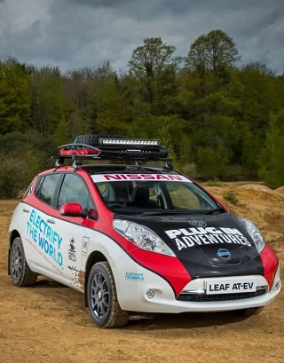 ELECTRIFYING PERFORMANCE: Yes, it's a Nissan Leaf. Yes, it's a battery car, and yes, it's on a 16 000km rally: Image: Plug-In Adventures / Nissan UK