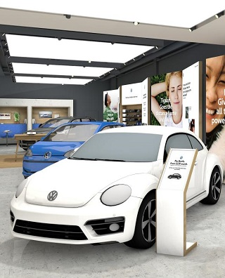 UP CLOSE WITH A SHOPPING TROLLEY: Walk-in store for new and used VW's next to your monthly shopping outlet. Image: VW UK / Newspress