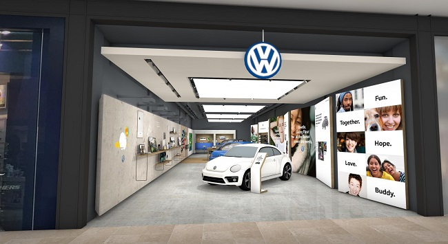 CARS ON SHOW: Walk-in store with a test-drive area nearby. Image: VW UK / Newspress