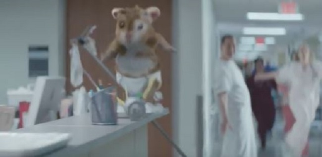 SOUL ON THE RUN: Baby Turbo causes havoc as he flees from the maternity ward. Image: Kia / YouTube