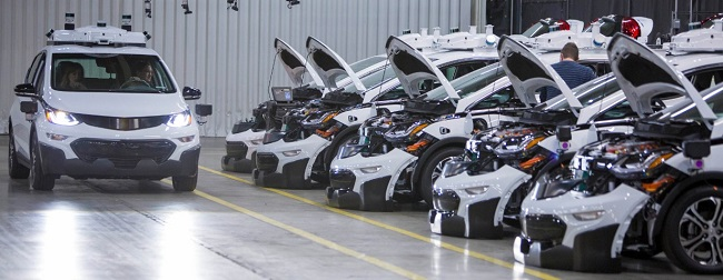WAITING IN LINE: Some of the Bolt electric cars waiting for sign-off at the Michigan production plant. Image: GM