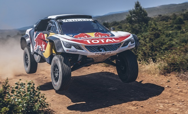 PEUGEOT 3008DKR MAXI: Carlos Sainz takes flight during a test in France on June14 2017. Image: PEUGEOT