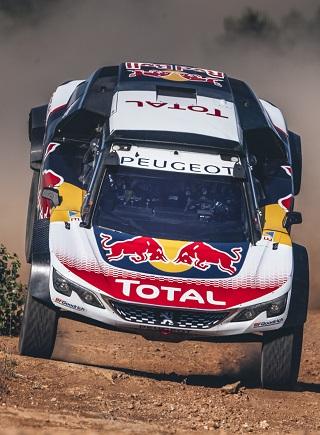 PEUGEOT 3008DKR MAXI: Test driver Carlos Sainz takes a dive n the dunes. Image: PEUGEOT