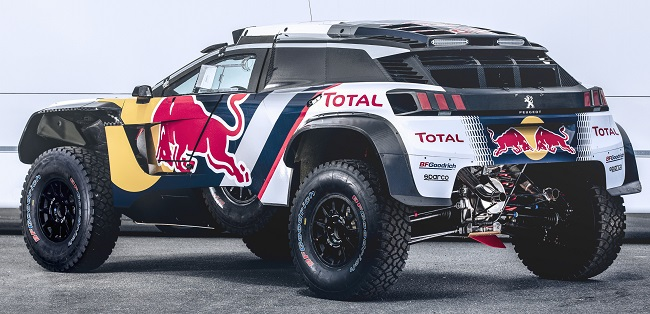 PEUGEOT 3008DKR MAXI: The Peugeot's rugged lines are even more apparent from the rear. Image: PEUGEOT