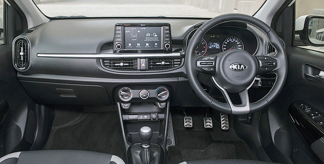 ALL THIS IN A BUDGET CAR: This is the facia of the top model in the 2017 Kia Picanto range - steering-wheel controls, aircon, power windows/external mirrors, and a 19cm infomations screen. Image: Kia