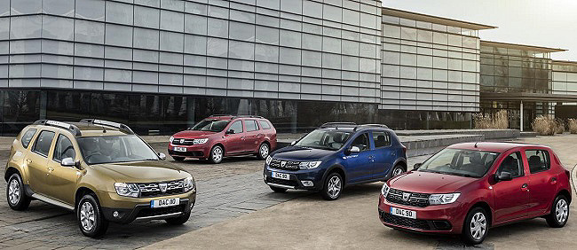 2017 DACIA PRAISE: This is the brand's 2017 range which has met with praise from buyers. Image: Dacia Motors / Newspress