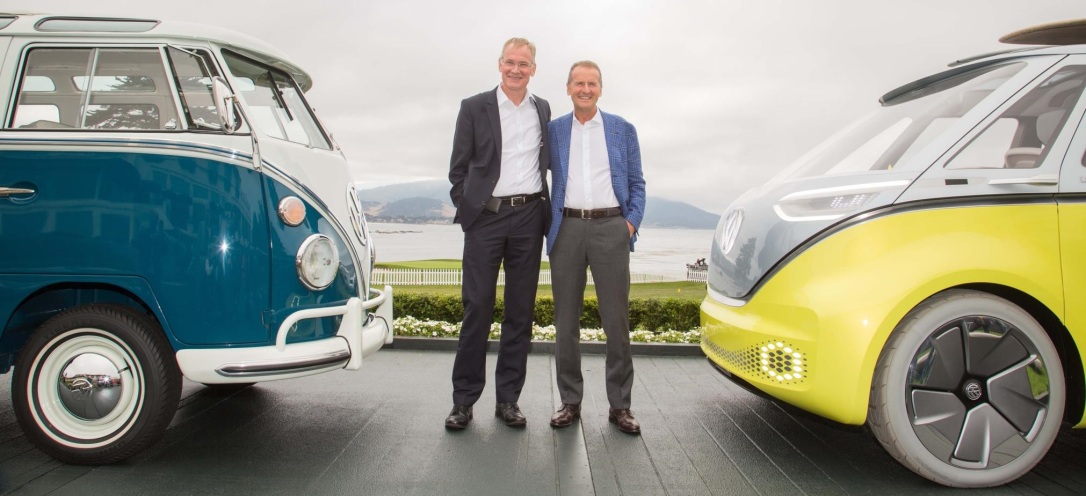 BOSSES WHO TOOK THE DECISION:  Dr Eckhard Scholz (left) and Dr Herbert Diess with the former and upcoming VW buses, a design first drawn more than 27 years ago. Image: VW / Newspress