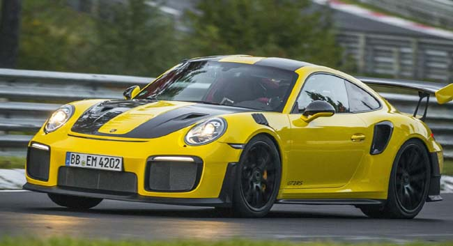 ON TRACK FOR LAP RECORD: The new Porsche RS2 at speed on the Nuerburgring. Image: Porsche / Newspress