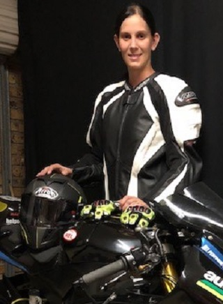 HOT LADY: Anja tom Suden is a rising start in Superbikes and now has support from a local businesss. Image: Supplied