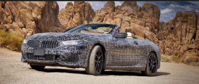 HOT TESTING FOR HOT CAR: A prototype BMW 8 Series convertible gets a break in Death Valley. Image: BMW / Newspress