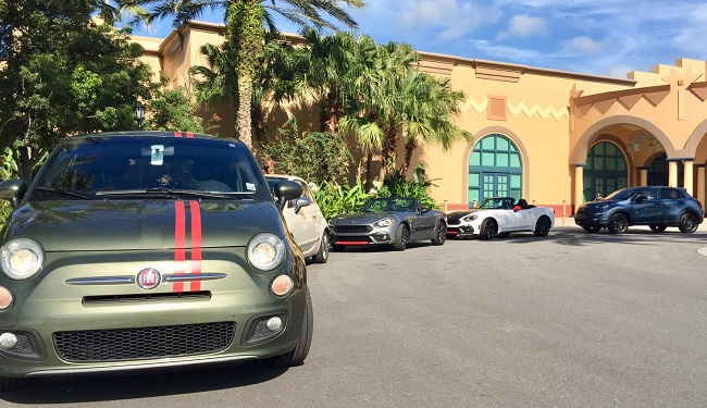 FREAKING OUT WITH FIATS: Fiats and Abarths line up for the 2018 Orlando event. Image: Fiat America / Newspress