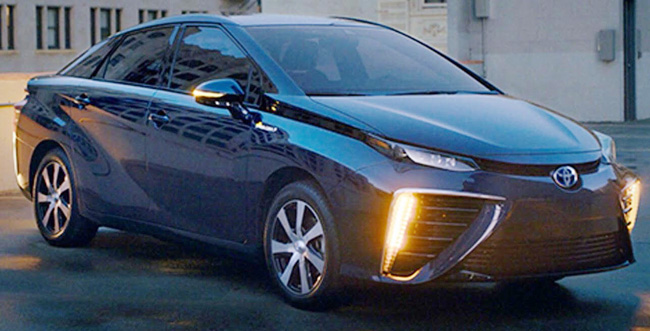 TOYOTA MIRAI IN THE METAL: The car, fuelled by hydrogen and only water vapour in the exhaust, is being punted big-time in California. Image: Toypota