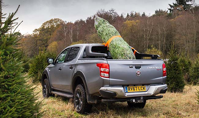 TIE THAT CHRISTMAS TREE DOWN! Drivers in the UK have been warned against carrying an unsecured Christmas tree. Image: Fiat UK