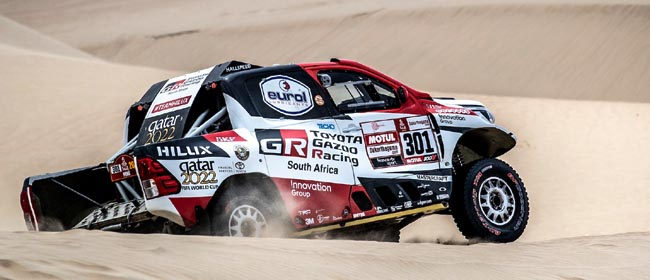 NASER AL ATTIYAH: He and co-driver Mathieu Baumel won the first stage of the 2019 Dakar Rally. Image:L Toyota SA