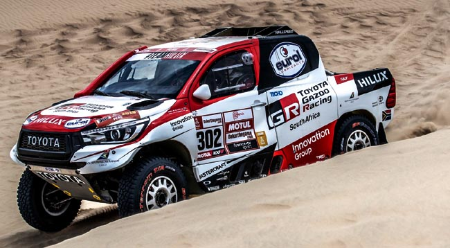 TOYOTA DOMINATE 2019 DAKAR FIRST STAGE: Three SA-built Toyota Hilux bakkies are in the race. This one is being driven by Giniel de Villiers Image: Toyota SA