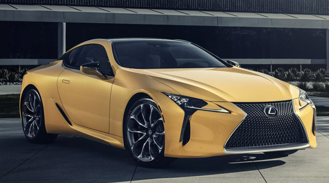 FAR FROM MELLOW YELLOW: Lexus will have its newLC 500 Inspiration Edition coupe as a star of its stand at the 2019 Chicago auto show. Image: Lexus