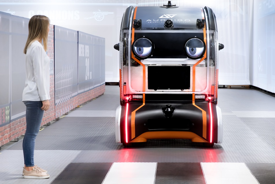 THE POD IN ACTION: Friendly eyes size up the human waiting at the pedestrian crossing and comes to a halt. Image: Jaguar Land Rover