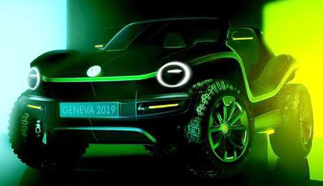 MEET THE BATTERYBUG: This is VW's newest interpretation of the timeless beach buggy, booked for the 2019 Geneva auto show. Image: VW