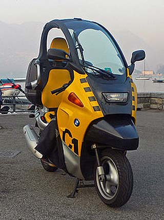 BMW C1: This fun, semi-enclosed- 125/200cc scoot was launched in 2000 but discontinued in 2002. Image: BMW Motorrad