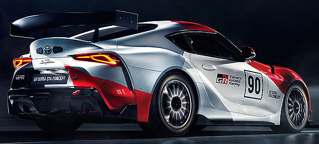READY TO RACE: All dressed for the occasion is one of the first Toyota GR Supra GT4 concept cars. Image: Toyota